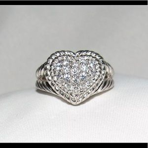Judith Ripka Pave Clear Stone Heart Ring
